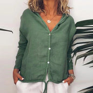 Solid Color Loose Casual Long Sleeve Blouse