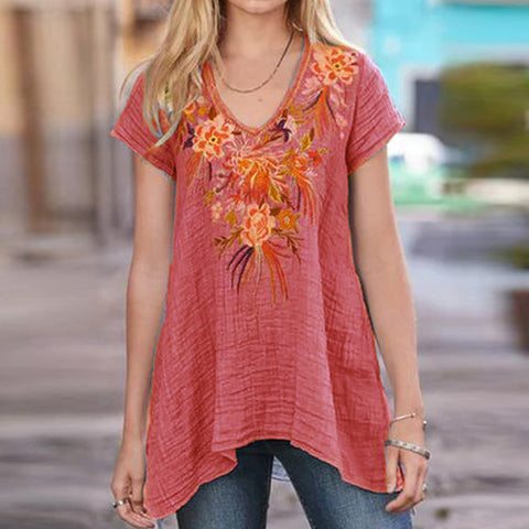 V-neck Short Sleeve Embroidered Irregular Top