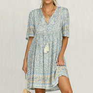 Bohemian V-neck Loose Dress