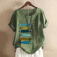 Retro Cotton and Linen Printed Loose Casual Shirt