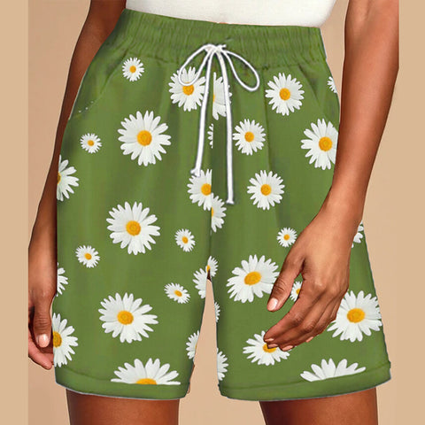 Daisy Printed Wide-leg Shorts