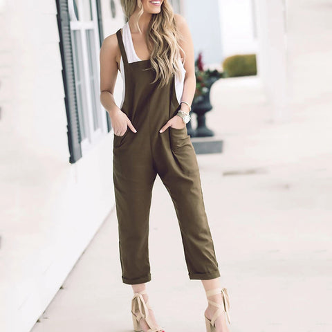 Solid Color Loose Cross Siamese Bib Casual Pants