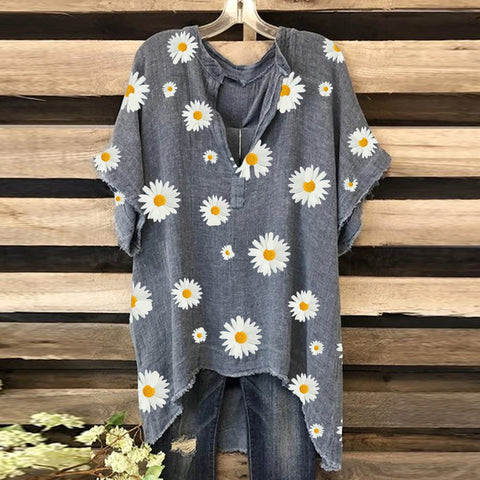 Small Daisy Print V-neck Short Sleeve