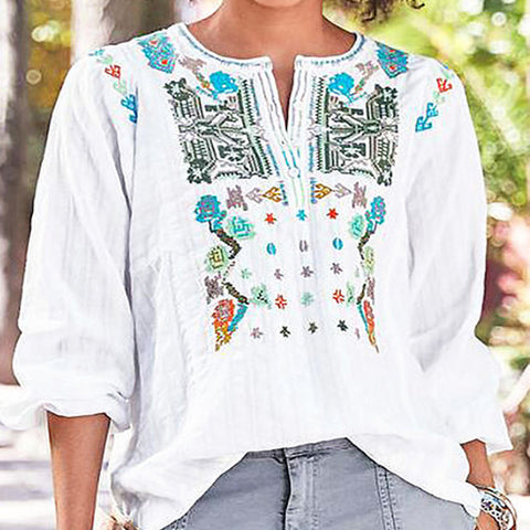 Embroidered Loose Long-sleeved Shirt