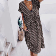Summer New Geometric Casual V-neck Dress