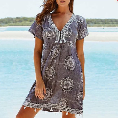 V-neck Tassel Print Short-sleeved Dress
