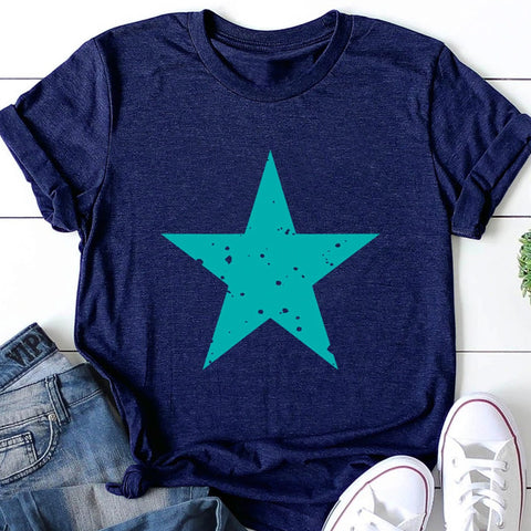 Five Pointed Star Printed Loose Short Sleeve T-shirt
