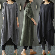 Ethnic Style Cotton Loose Casual Dress