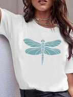 Dragonfly Printed Holiday Short-sleeved T shirt