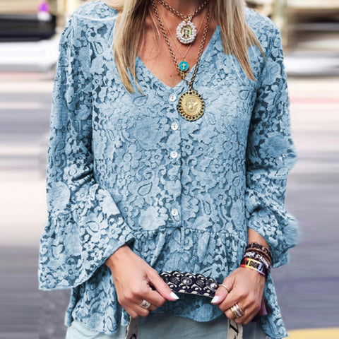Lace V-neck Flared Sleeve Top
