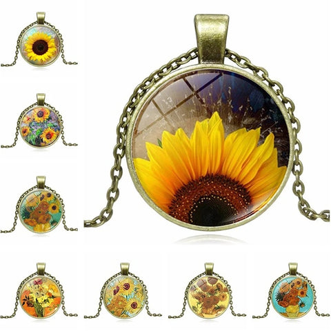 Art sunflower time jewel Necklace