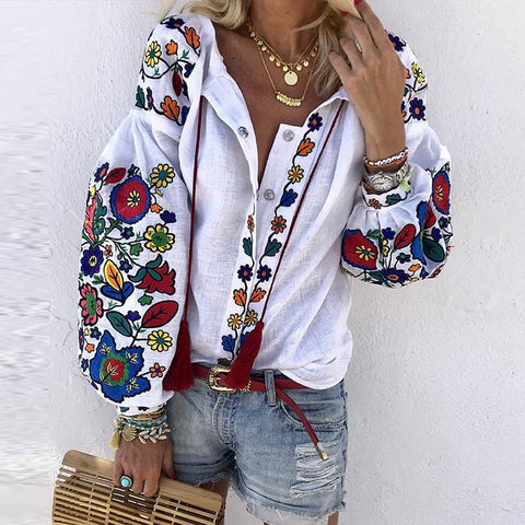 Ethnic Style Printed Lantern Sleeve Casual Shirt