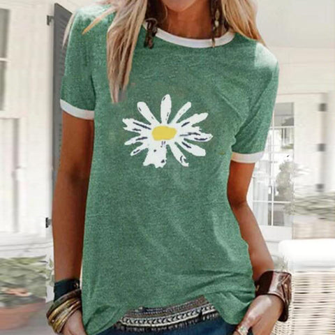 Loose Little Daisy Printed Round Neck Short Sleeve T-shirt