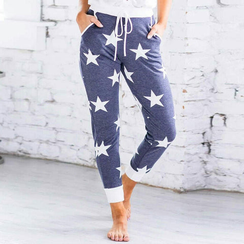Star Print High Waisted Lace Up Casual Ankle Pants