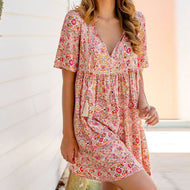 Bohemian V-neck Floral Half Sleeve Dress