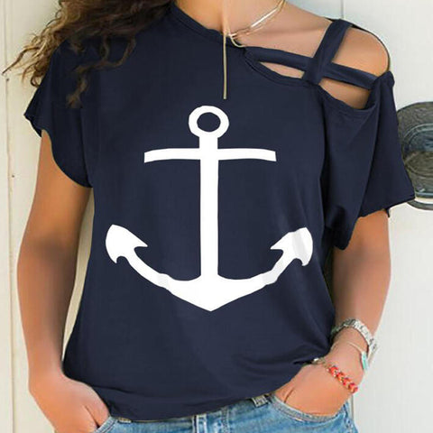 Asymmetrical Shoulder Strap Boat Print Short Sleeve T-shirt