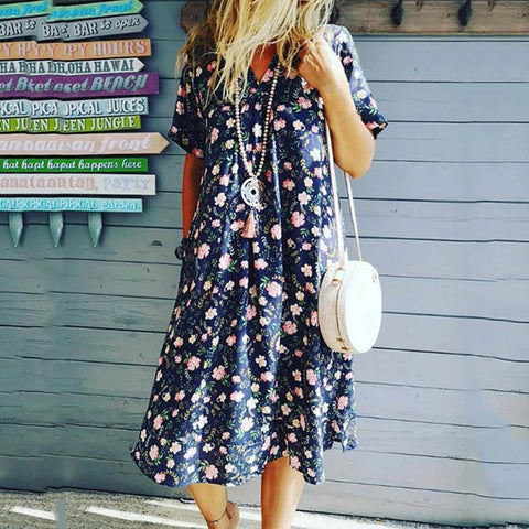 V-neck print loose dress