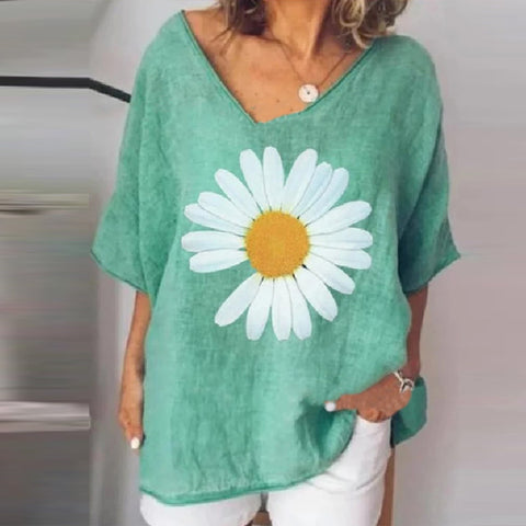 Small Daisy Casual Plus Size Print T-shirt