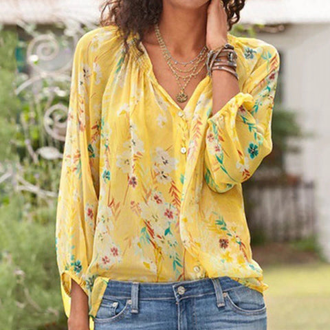 Printed Button Ruffled Shirt
