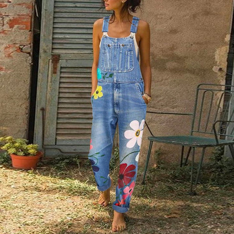 Printed Denim Jumpsuit