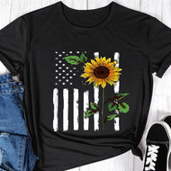 National Flag Print T-Sleeved Crew Neck T-Shirt