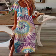 Gradient Color Tie-dye Short-sleeved Dress