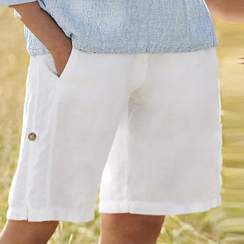 Solid Color Cotton and Linen Shorts