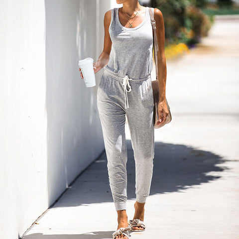 Sleeveless Solid Color Jumpsuit Trousers