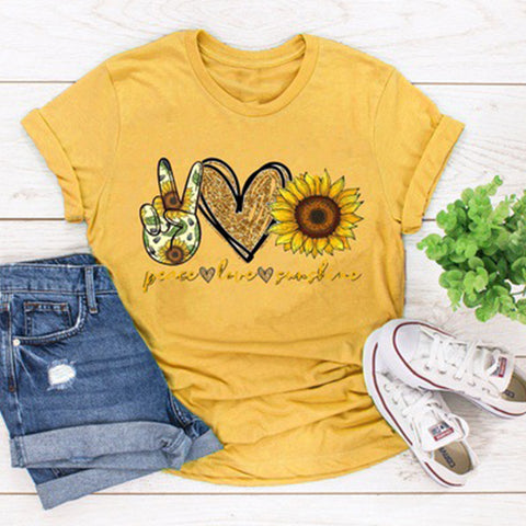 Sunflower Printed Short-sleeved T-shirt