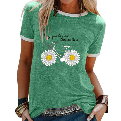 Small Daisy Print Panel Loose Casual Short Sleeve T-Shirt