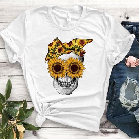 Chrysanthemum Skull Print Casual Short-sleeved T-shirt