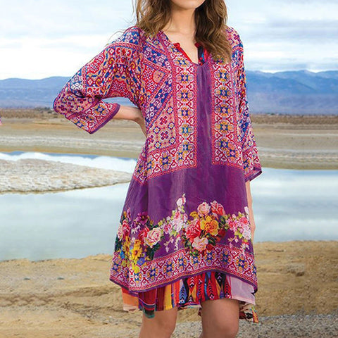 Ethnic Print Fashion V-neck Dress