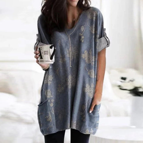 Print V long-sleeved T shirt