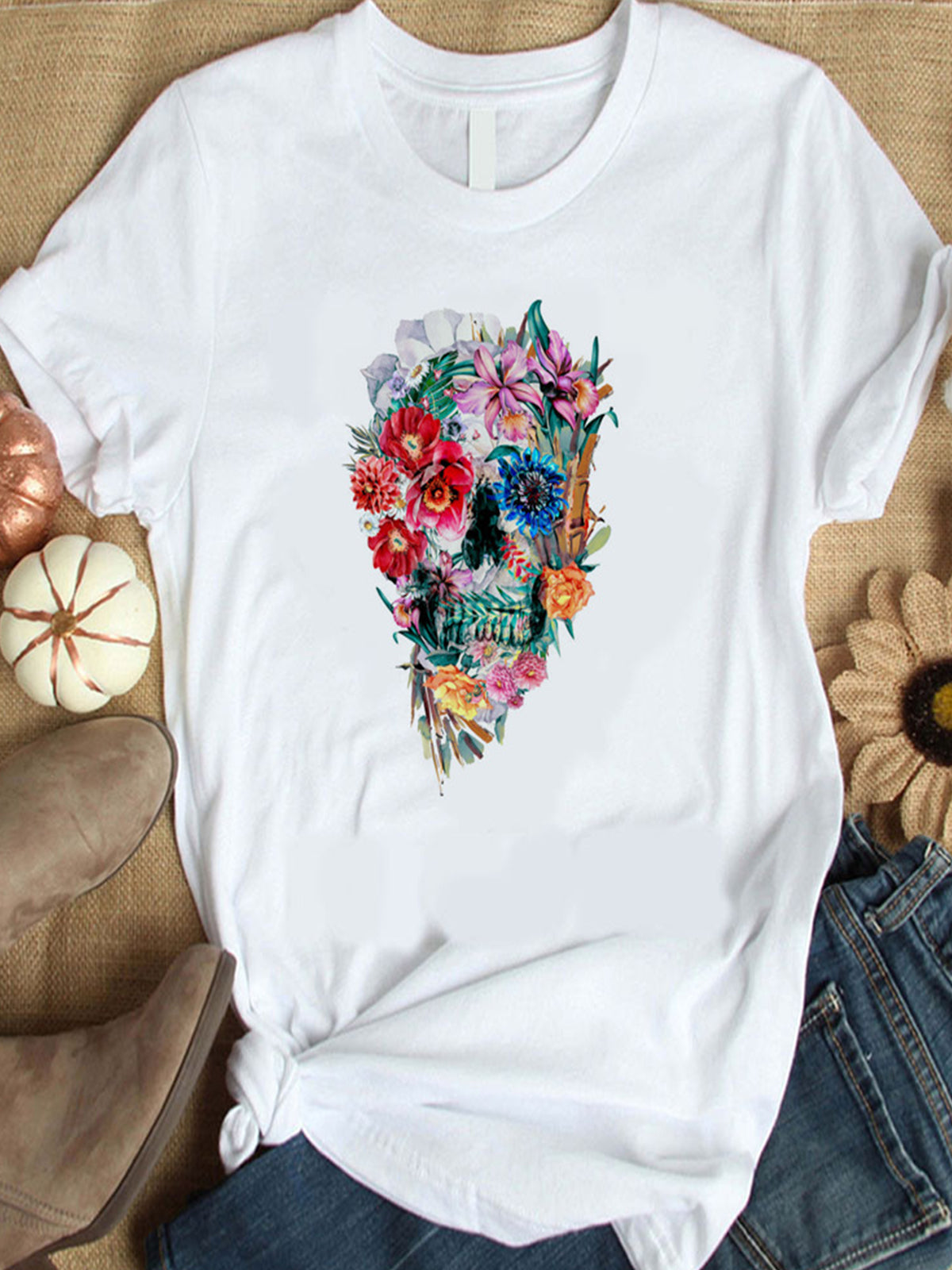 Summer Skull Floral Print Short Sleeve