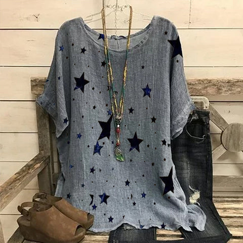 Star Print Short Sleeve Round Neck Top