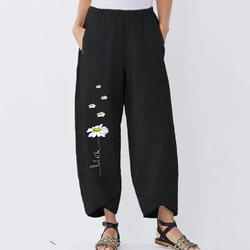 Loose Little Daisy Flower Ladies Wide Leg Pants