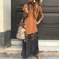 Simple Loose Contrast  Leopard Stitching Short Sleeved Printed V-neck Casual Dress