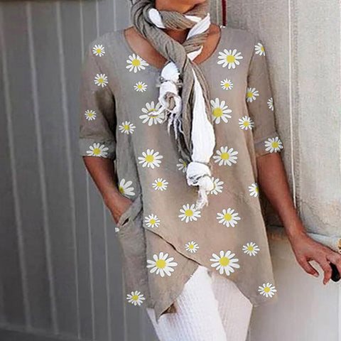 Daisy Floral Printed Sleeve Round Neck Shirt