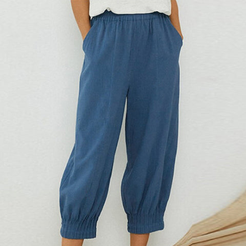Cotton and Linen Pleated Trousers with Waist-closed Trousers