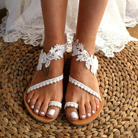 Pure Color Open Toe Flower Sandals
