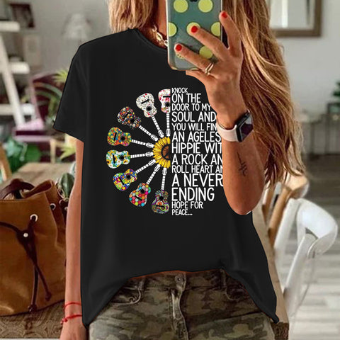 KNOCK ON THE Printed Cotton T-shirt