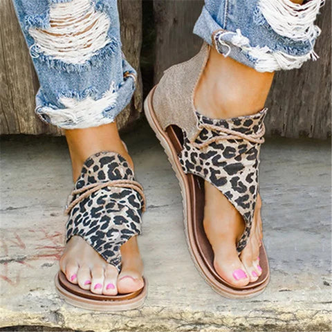 Slip Flat Casual Leopard Sandal Women's Shoes