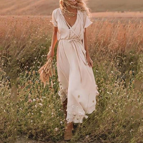 Bohemian Fashion V-neck Short Sleeve Dress