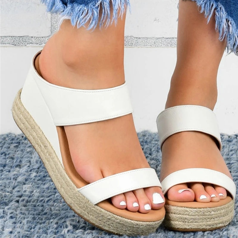 Synthetic PU Sandals with Buckle Slope Heel