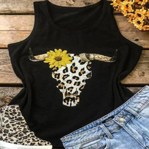 Sunflower Sleeveless Vest Chrysanthemum Print Vest T-shirt