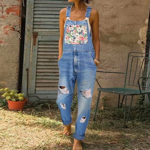 Patch Denim Jumpsuit