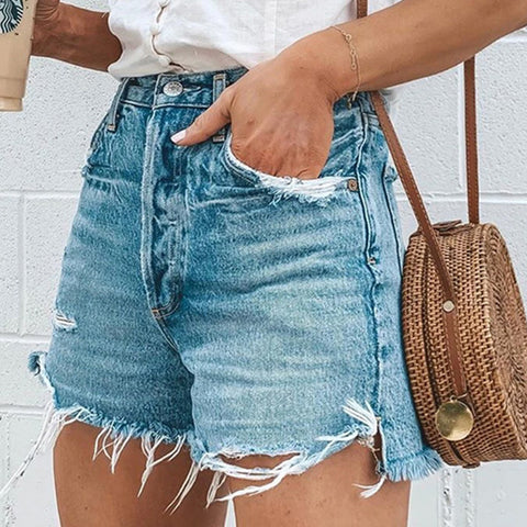 Loose Ripped Tassel Jeans Shorts Hot Pants Women