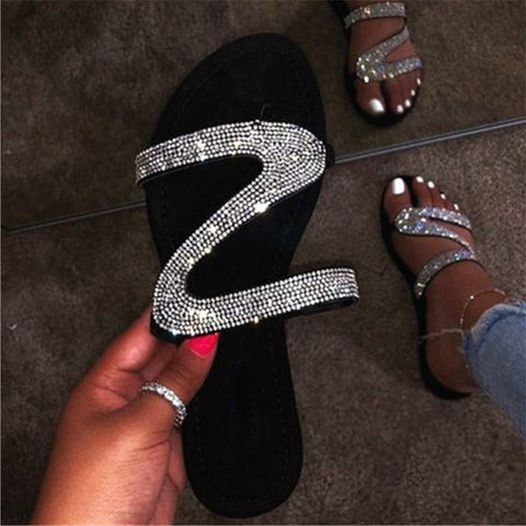 Wome's Shiny Crystal Diamond Open Toe Shoes Flat Slippers Beach Flip Flops