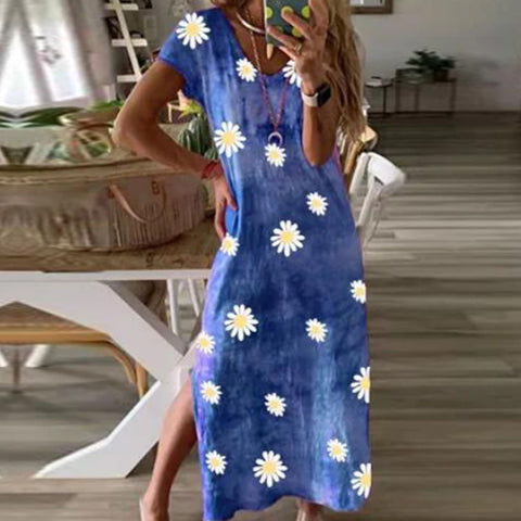 Summer Hem Open Daisy Print Dress
