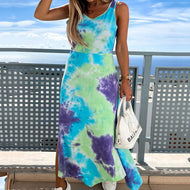 Tie-dyed Printed Split Slim-fit Irregular Tank Top Dress